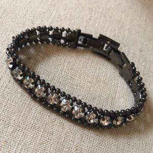 Hematite & faux sparkle bracelet